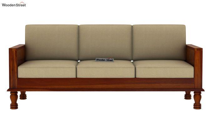 Emboss 3 Seater Wooden Sofa (Honey Finish)-3