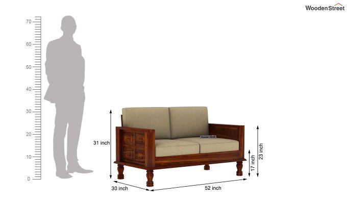Emboss 2 Seater Wooden Sofa (Honey Finish)-4