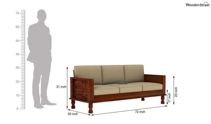 Emboss 3 Seater Wooden Sofa (Honey Finish)-4