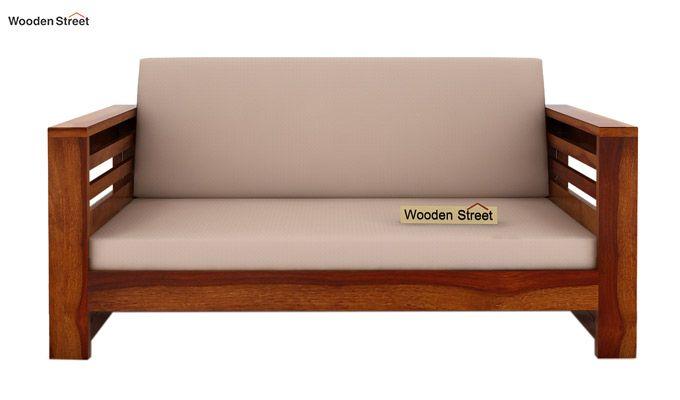 Feltro 2 Seater Wooden Sofa (Honey Finish)-2