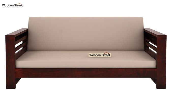 Feltro 3 Seater Wooden Sofa (Mahogany Finish)-2