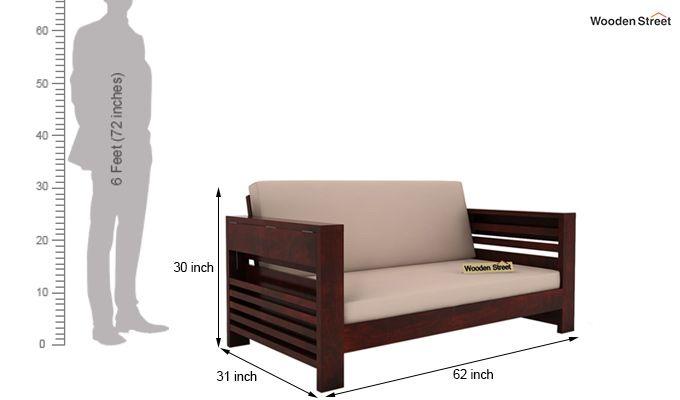 Feltro 2 Seater Wooden Sofa (Mahogany Finish)-5