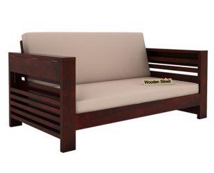 Feltro 2 Seater Wooden Sofa (Mahogany Finish)