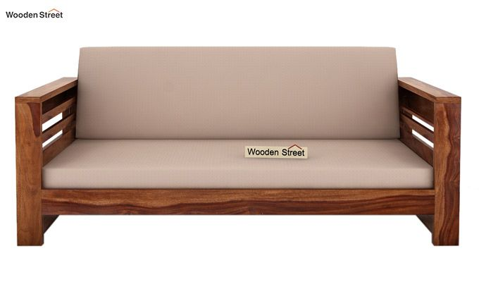 Buy Feltro 3 Seater Wooden Sofa Teak Finish Online In