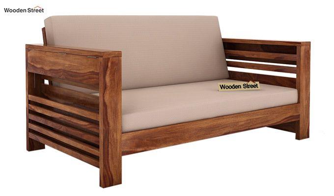 Feltro 2 Seater Wooden Sofa (Teak Finish)-1