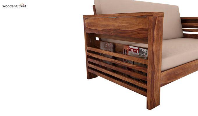 Feltro 2 Seater Wooden Sofa (Teak Finish)-3