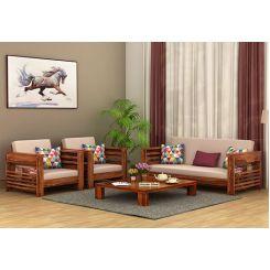 Feltro 3+1+1 Seater Wooden Sofa (Teak Finish)