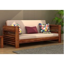 Feltro 3 Seater Wooden Sofa (Teak Finish)