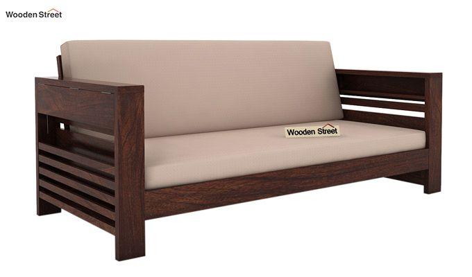 Feltro 3 Seater Wooden Sofa (Walnut Finish)-1