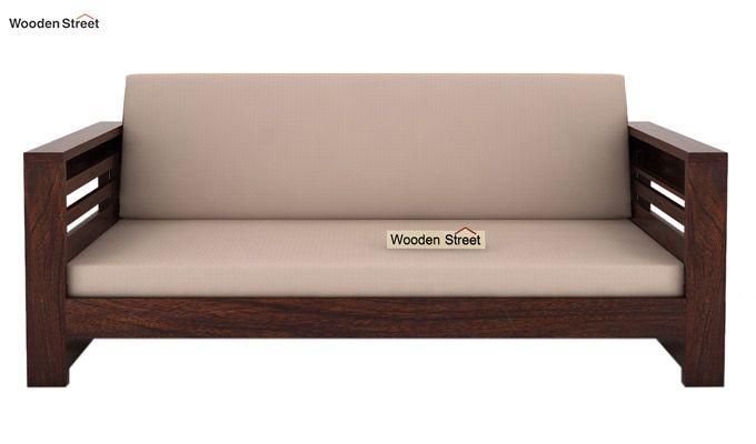 Feltro 3 Seater Wooden Sofa (Walnut Finish)-2