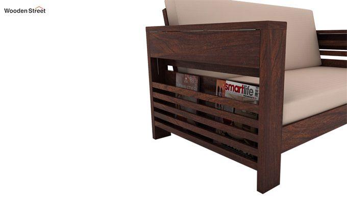 Feltro 3 Seater Wooden Sofa (Walnut Finish)-3