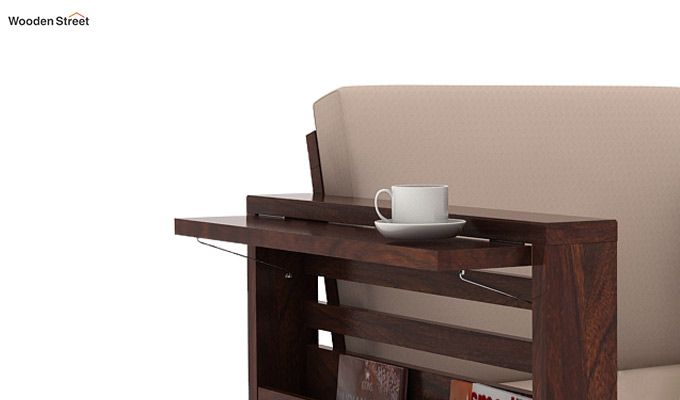 Feltro 3 Seater Wooden Sofa (Walnut Finish)-4