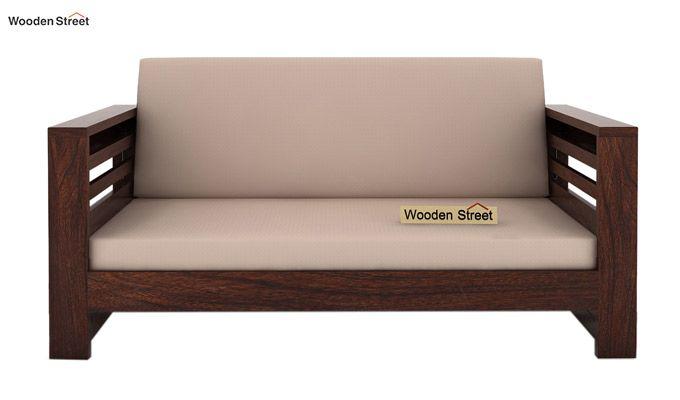 Feltro 2 Seater Wooden Sofa (Walnut Finish)-2