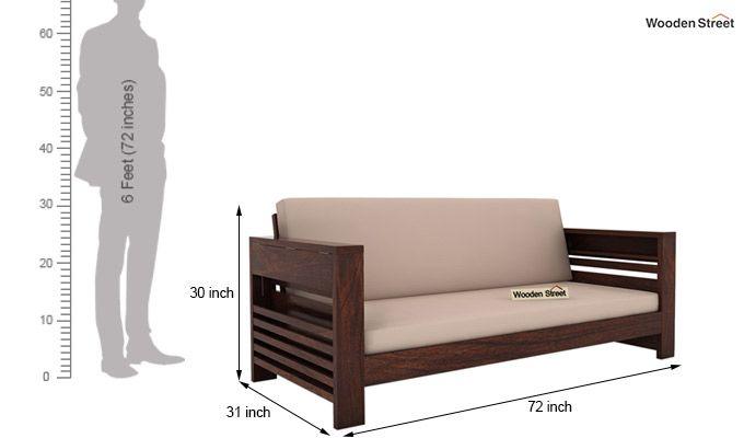 Feltro 3 Seater Wooden Sofa (Walnut Finish)-5