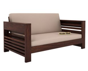 Feltro 2 Seater Wooden Sofa (Walnut Finish)