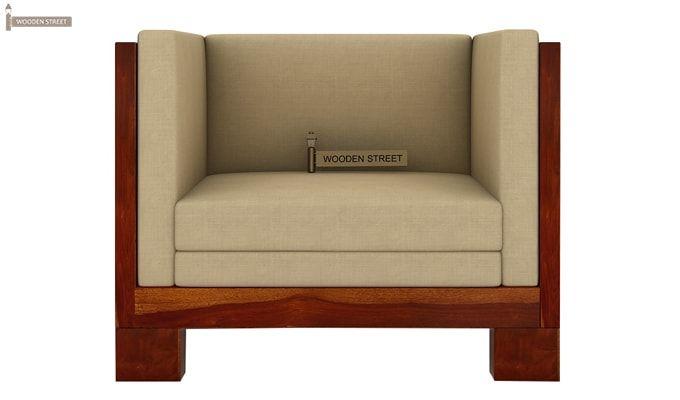 Hizen 1 Seater Wooden Sofa (Honey Finish)-2