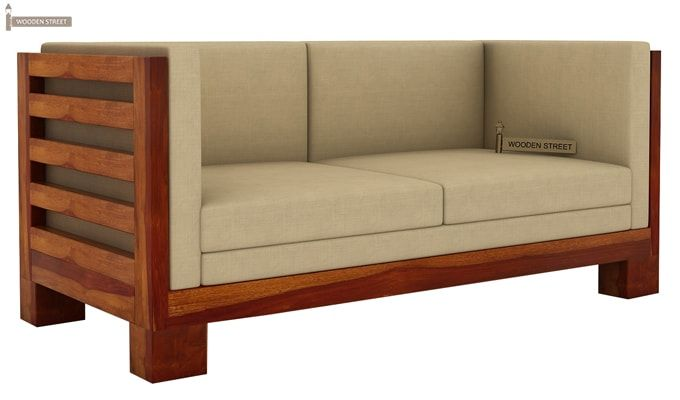 Hizen 2 Seater Wooden Sofa (Honey Finish)-1
