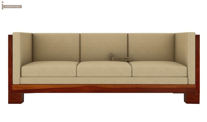 Hizen 3 Seater Wooden Sofa (Honey Finish)-2