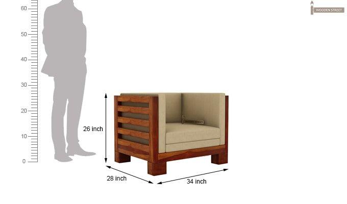 Hizen 1 Seater Wooden Sofa (Honey Finish)-3