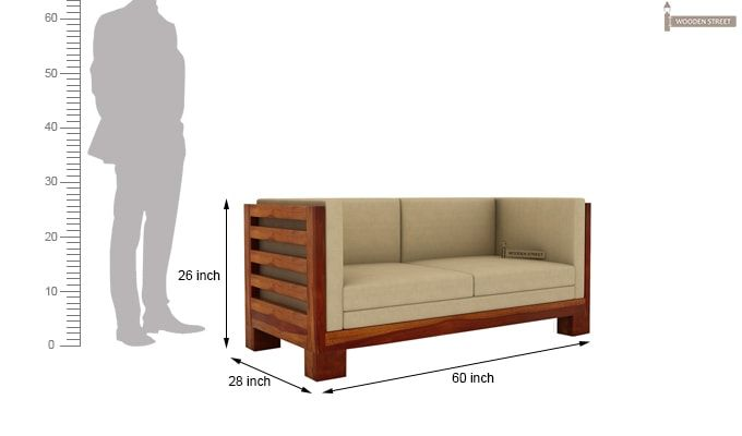 Hizen 2 Seater Wooden Sofa (Honey Finish)-3