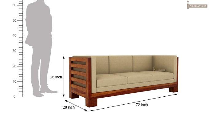 Hizen 3 Seater Wooden Sofa (Honey Finish)-3
