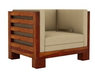 Hizen 1 Seater Wooden Sofa (Honey Finish)