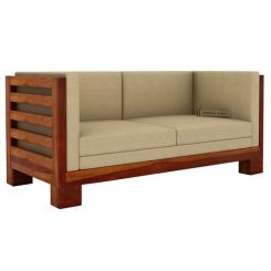 Hizen 2 Seater Wooden Sofa (Honey Finish)