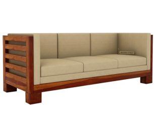 Hizen 3 Seater Wooden Sofa (Honey Finish)