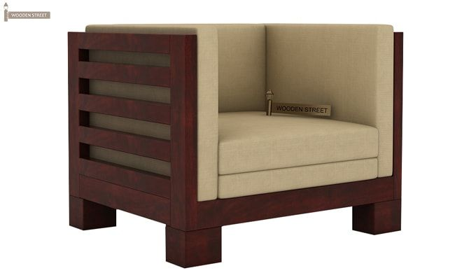 Hizen 1 Seater Wooden Sofa (Mahogany Finish)-2