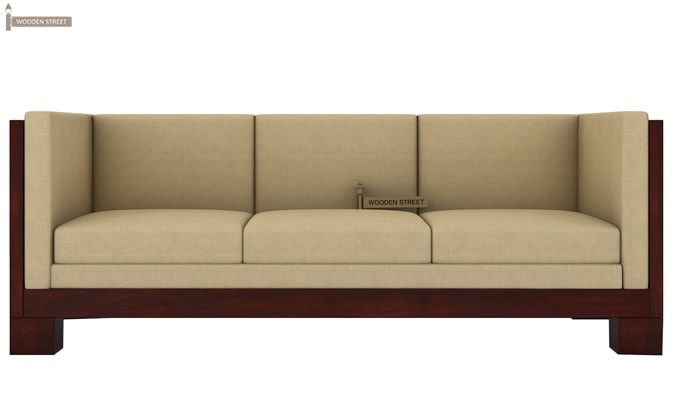 Hizen 3 Seater Wooden Sofa (Mahogany Finish)-2