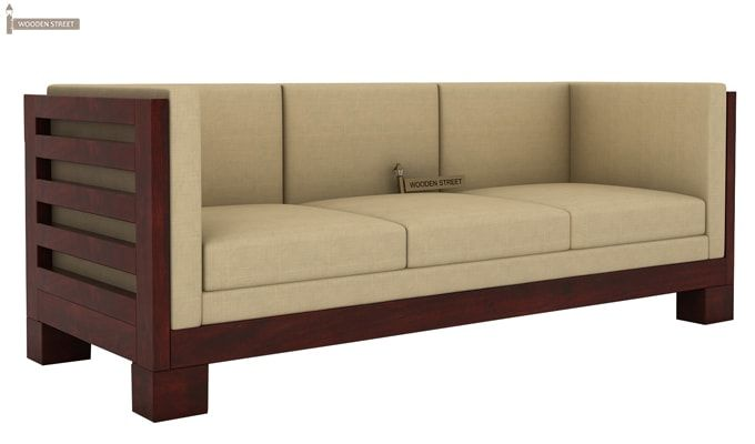 Hizen 3 Seater Wooden Sofa (Mahogany Finish)	-3