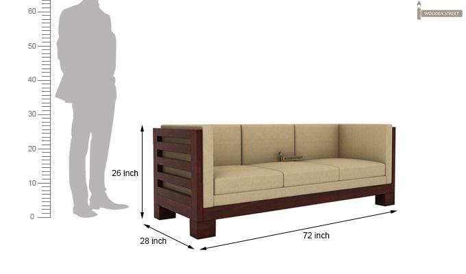 Hizen 3 Seater Wooden Sofa (Mahogany Finish)-4