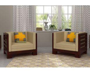 Hizen Wooden Sofa 1+1 Sets (Mahogany Finish)