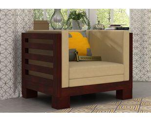 Hizen 1 Seater Wooden Sofa (Mahogany Finish)