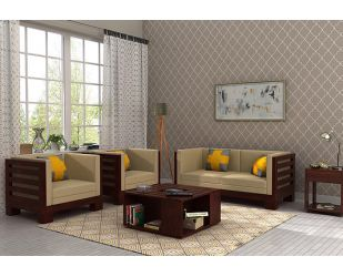 Hizen Wooden Sofa 2+1+1 Set (Mahogany Finish)