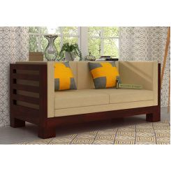 Hizen 2 Seater Wooden Sofa (Mahogany Finish)