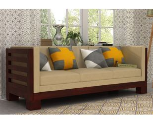 Hizen 3 Seater Wooden Sofa (Mahogany Finish)