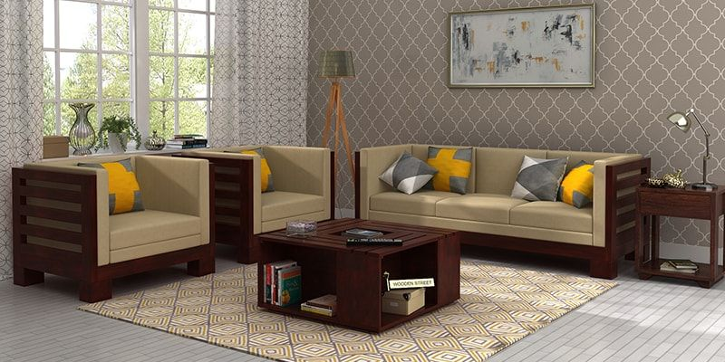 Wooden sofa set buy wooden sofa set online in india upto for Interior design for living room chennai