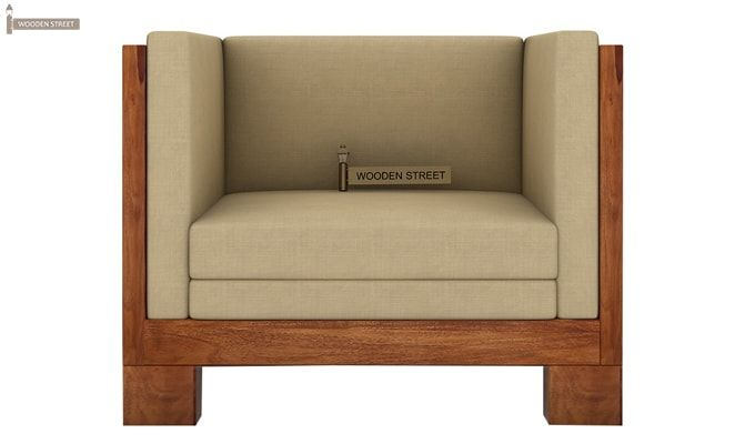 Hizen 1 Seater Wooden Sofa (Teak Finish)-2