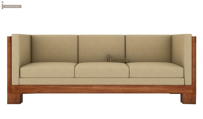 Hizen 3 Seater Wooden Sofa (Teak Finish)-2