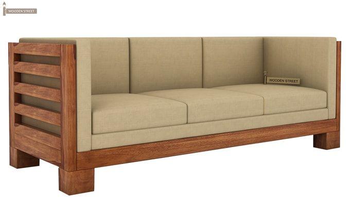 Hizen 3 Seater Wooden Sofa (Teak Finish)-1
