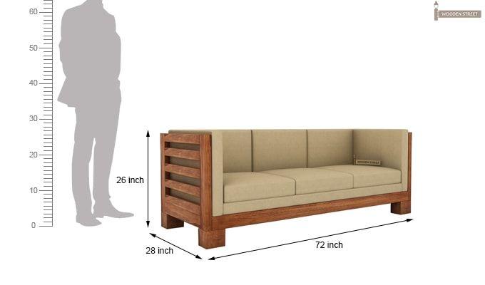 Hizen 3 Seater Wooden Sofa (Teak Finish)-3