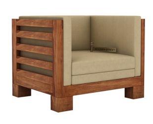 Hizen 1 Seater Wooden Sofa (Teak Finish)