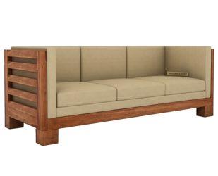Hizen 3 Seater Wooden Sofa (Teak Finish)