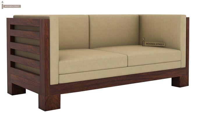 Buy Hizen 2 Seater Wooden Sofa Walnut Finish Online In
