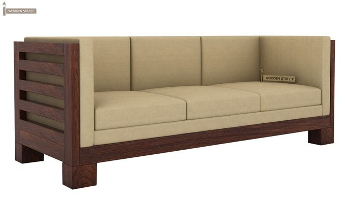 Hizen 3 Seater Wooden Sofa (Walnut Finish)-1