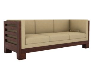 Hizen 3 Seater Wooden Sofa (Walnut Finish)
