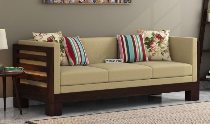 Hizen 3 Seater Wooden Sofa Walnut Finish Online In India Street