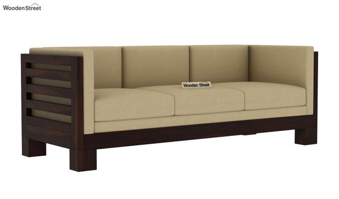Hizen 3 Seater Wooden Sofa (Walnut Finish)-2