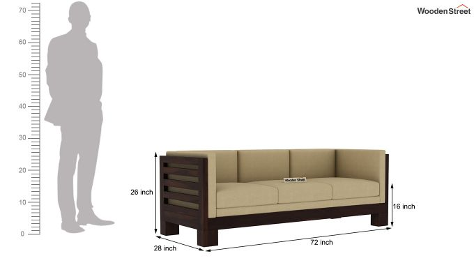 Hizen 3 Seater Wooden Sofa (Walnut Finish)-4